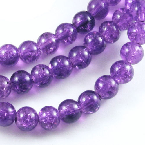 6mm Purple Round Glass Crackle Beads, 100/Pkg
