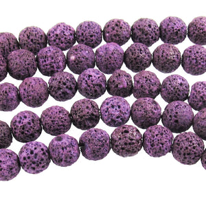 Purple Grape Lava Rock Beads, 10mm Round Volcano Beads, 37 Pieces