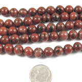 "Round Gemstone Beads-Brazil Agate 15"" Strand 8mm (48)"