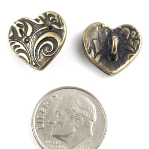 Brass Oxide Amor Heart Buttons, TierraCast | Shank | Vine Design (2 Pieces)