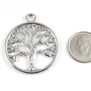 Metal Pendants-Bright Silver Circle Tree of Life 30x35mm (6 Pieces)