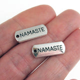 Silver Namaste Bar Charms, Metal Word Zen, Yoga, Meditation (20 Pieces)