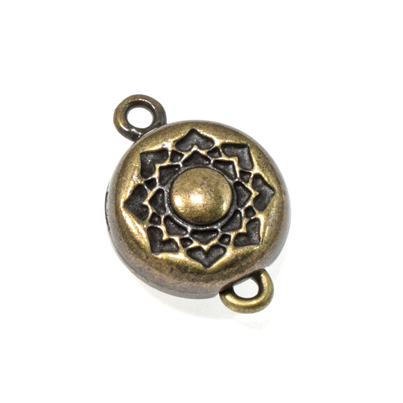 Antique Brass Lotus Magnetic Clasp, TierraCast Boho Flower (1 Set)