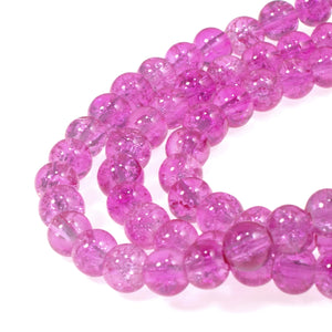 Fuchsia Pink 6mm Round Glass Crackle Beads, 100/Pkg