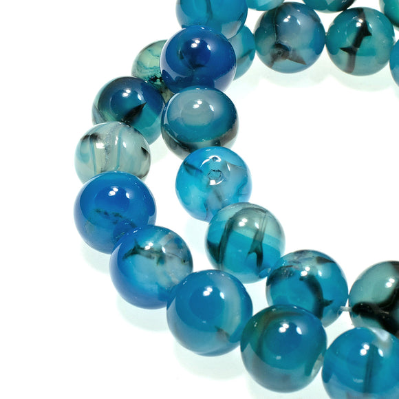 Aqua Blue 10mm Dragon Vein Agate Beads, Round Spider Gemstone 38/Pcs