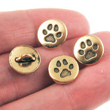 Gold Small Paw Print Buttons, TierraCast Shank, Leather Clasp 12mm (4 Pieces)