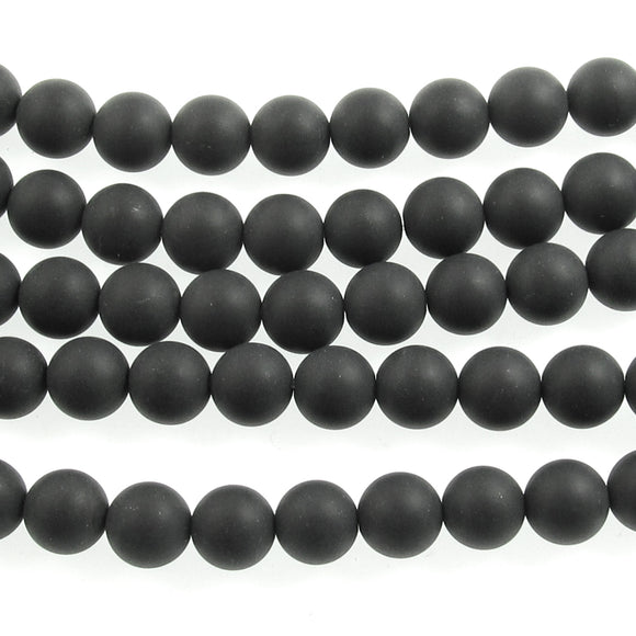 Matte Black Agate Beads