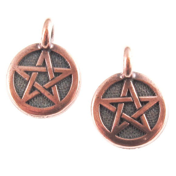 Copper Pentagram Charms, TierraCast Wicca Pagan Metaphysical Charm (2)