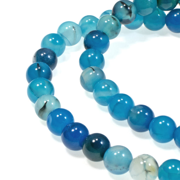 6mm Aqua Blue Round Agate Beads with Black Veining, 65/Strand