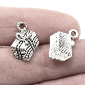 Silver Gift Charms, Metal Christmas Birthday Present Charms 10/Pkg