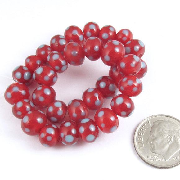 Rondelle Lampwork Glass Beads-RED + LIGHT BLUE DOTS (30)