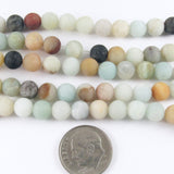 "Round Gemstone Beads 15"" Strand-Brown Matte Amazonite 6mm (62 Pcs)"
