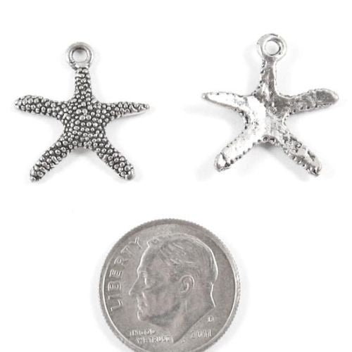 Silver Starfish Charms, Metal Beach Sea Star Charm 20/Pkg