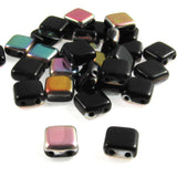 Jet Vitrail Square Tile Beads