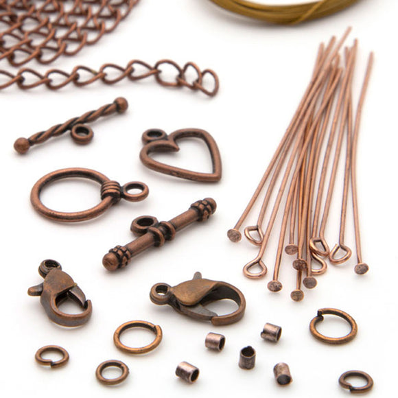 119 Piece Copper Metal Necklace Starter Pack