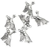 Silver Angel with Star Charms, Stamped Metal Christmas Charms 20/Pkg