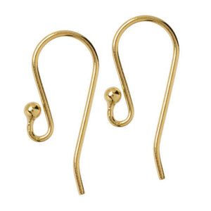 Gold Elegance Fishhook Ear Wires with Ball, 14K Plated (4 Pair)