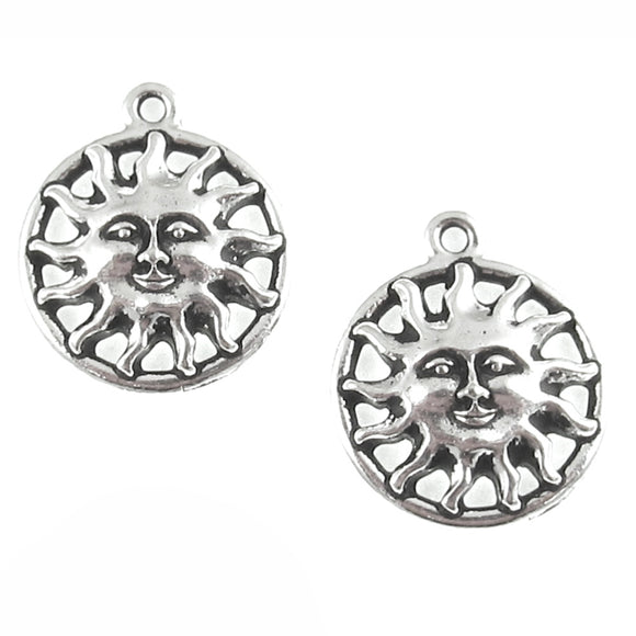 Silver Open Sunshine Charms TierraCast Pewter Sun Face (2 Pieces)