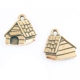 Gold Dog House Charms TierraCast Lead-Free Pewter Double Sided 15mm (2 Pcs)