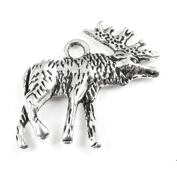 Silver Moose Charms, Metal Double Sided Animal 22x22mm (20 Pieces)