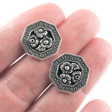 Silver Flower Blossom Buttons, TierraCast Leather Clasp, Shank Back (2 Pieces)