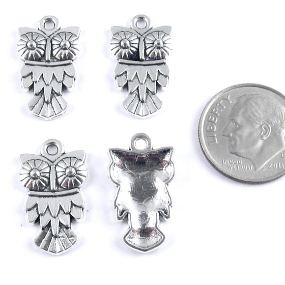 Bright Silver Metal Craft Charms - OWL 11x20mm (20 Charms)