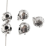 Silver Rose Skull Beads, Sugar Skull, Day of the Dead Beads 5/Pkg