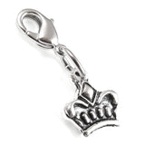 silver crown clip on charm