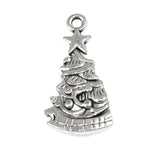 Silver Decorated Christmas Tree Charms, Metal Holiday Charm 12/Pkg