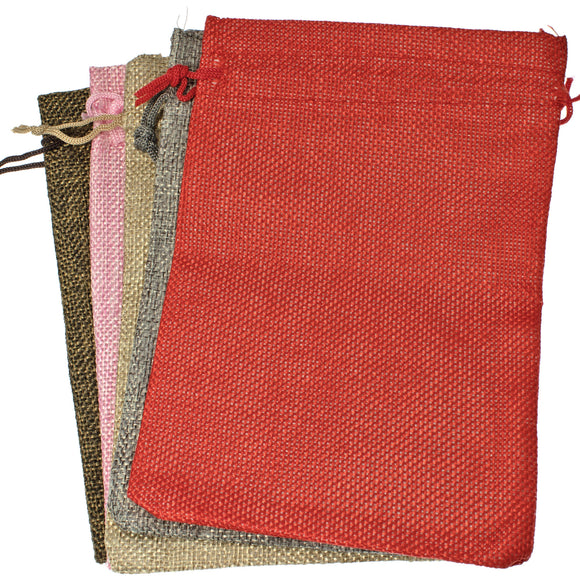 5 Burlap Fabric Drawstring Bags, Cloth Pouches, Mixed Colors 5
