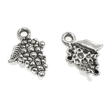 Silver Grape Charms, Metal Food Fruit Wine Charms 25/Pkg