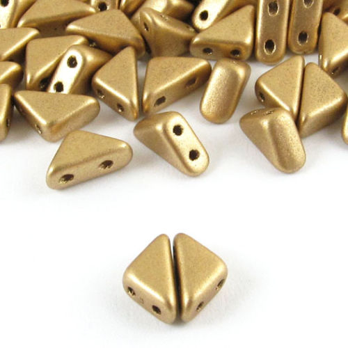 Czech Glass 2-Hole Triangle Beads-TANGO MATTE GOLD 6mm (50)