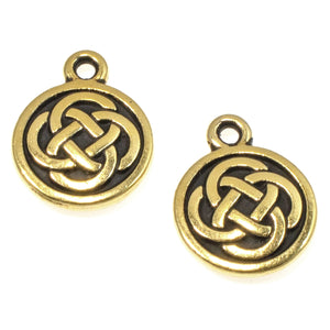 Gold Celtic Round Charms, TierraCast Eternity Knot Charms 2/Pkg