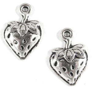 Silver Strawberry Charms