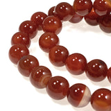 Carnelian Agate 10mm Round Beads, Burnt Orange Gemstone, 38 Pcs