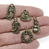 Antique Brass Christmas Charm Set: St. Nick, Wreath, Frosty, Angel, Bells, 5 Pcs.