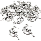 Fairy Sitting in Moon Charms, Antique Silver Metal Pendants (20 Pieces)