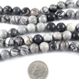 "Black Silk Stone Jasper Round Gemstone Beads 15"" Strand 8mm (47 Pcs)"