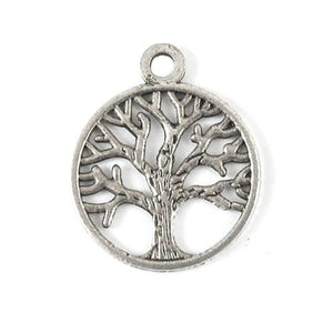 Metal Charms-Silver Tree of Life in Circle 20x24mm (20 Pcs)