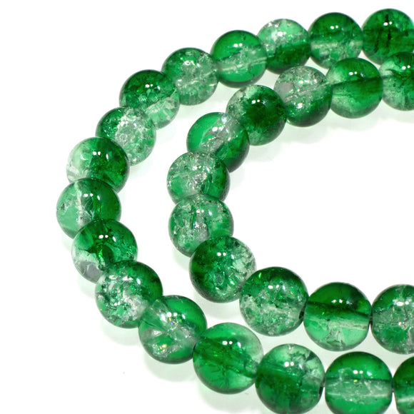 Emerald Green & Clear 8mm Round Glass Crackle Beads, Two Tone 50/Pkg