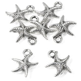Silver Curvy Starfish Charms, Double Sided Metal Sea Star Charm 25/Pkg