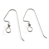 Sterling Silver Angled Ear Wires + 3mm Ball Accent