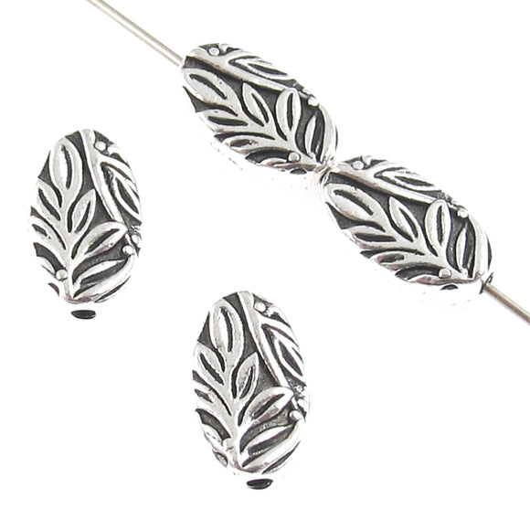 Oval Silver Botanical Leaf Beads TierraCast Pewter Garden Nature Woodland 4 Pcs