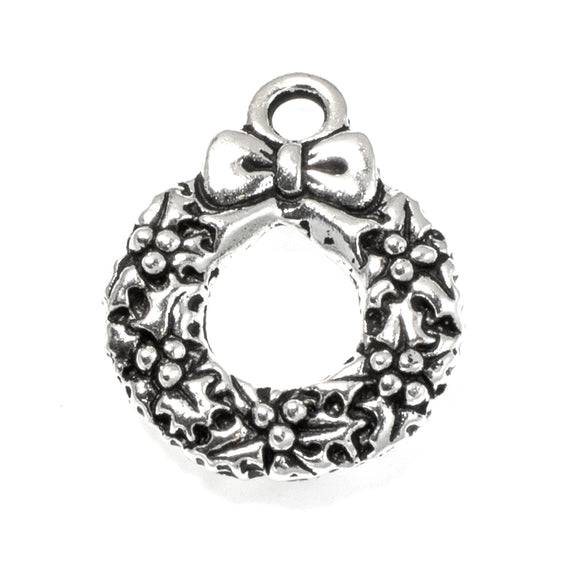Silver Christmas Wreath Charms, TierraCast Holiday Charm 5/Pkg