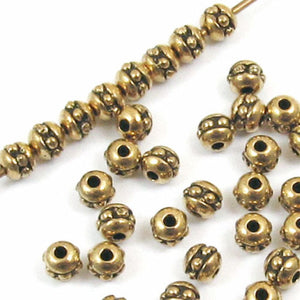 Gold Beaded Round Seed Beads, TierraCast, Size 8, 3mm 50/Pkg
