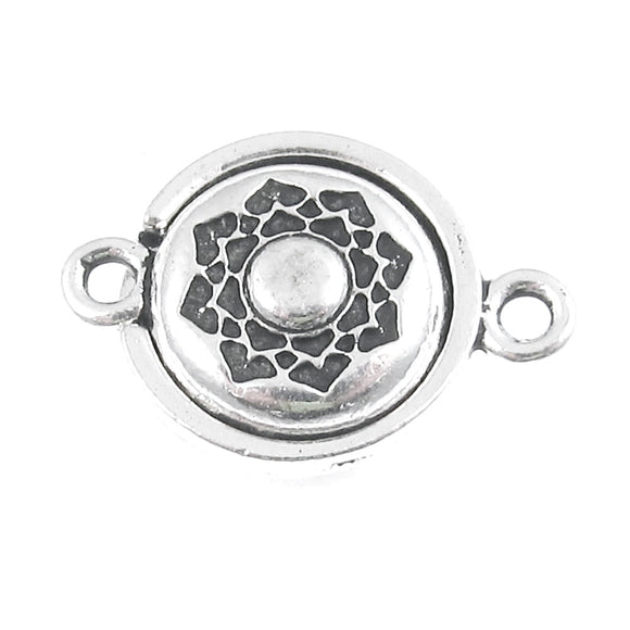 Silver Lotus Magnetic Clasp, TierraCast Lead Free Pewter Boho Flower (1 Set)