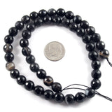 Faceted Black Agate Beads, 8mm Round Gemstone,  48 Pieces/Strand
