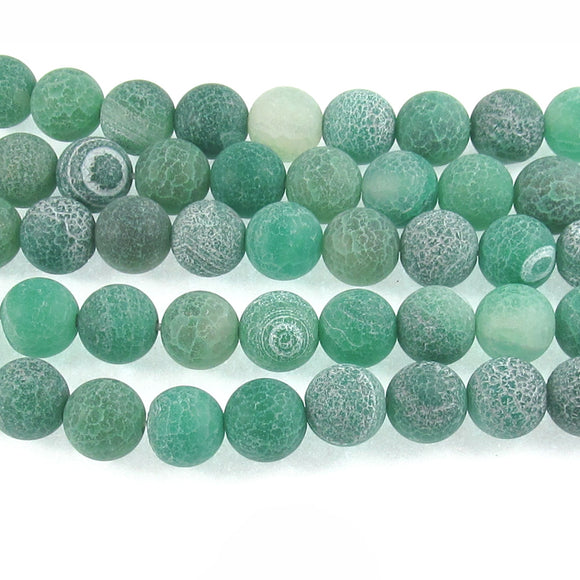 Green Crackle Matte Beads Frosted Dragon Vein Agate Stone 10mm (38 Pieces)