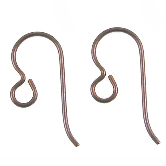 Copper Niobium Ear Wires Regular Loop, TierraCast Hypoallergenic (10 Pieces)