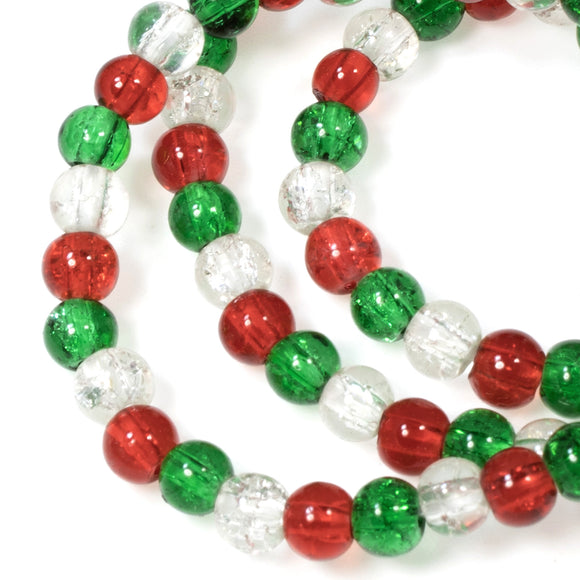 Red, Green & Clear Glass Crackle Beads, Christmas Bead Mix 4mm 600/Pkg